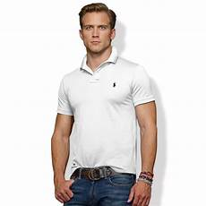 polo ralph slim fit stretch mesh polo in white for
