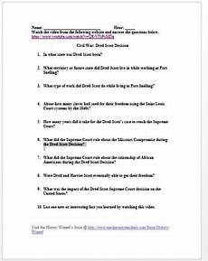 civil war dred scott decision in 6 minutes video worksheet by history wizard