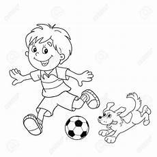 Malvorlage Hund Umriss Malvorlagen Umriss Jungen Mit Einem Fuball Hund