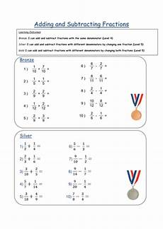 fraction worksheets adding and subtracting unlike denominators 3838 adding subtracting fractions differentiated w s by fionajones88 teaching resources tes