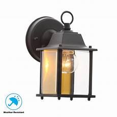 hton bay 1 light black outdoor wall lantern bpm1691 blk the home depot
