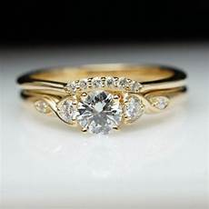 vintage style diamond engagement ring wedding band vintage style yellow gold