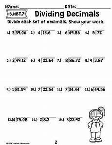 decimal unit dividing decimals worksheets 5 nbt 7 by teacher gameroom