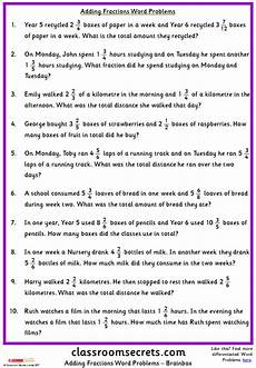 word problem fraction worksheets for grade 6 4250 adding fractions word problems classroom secrets