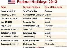 federal holidays 2013