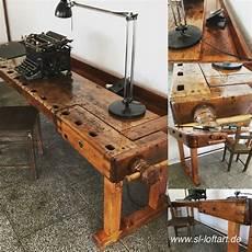 schreibtisch office aus alter hobelbank werkbank in