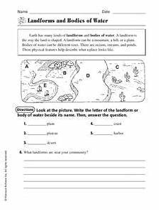landforms and bodies of water worksheet for 3rd 4th