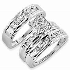trio wedding sets for him and her discount engagement rings silver diamond trio ring set 032ct