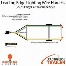 wishbone style trailer wiring harness with 4 flat connector 25 ft with 3 ft ground wire