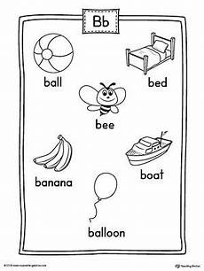 letter b worksheets sparklebox 24013 letter b word list with illustrations printable poster b words list letter sound activities