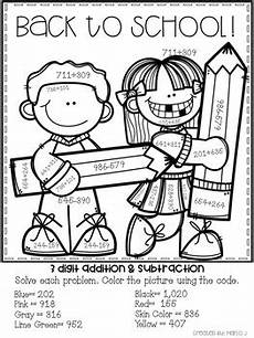 color by number worksheets high school 16166 3 digit addition and subtraction color by number back to school themed