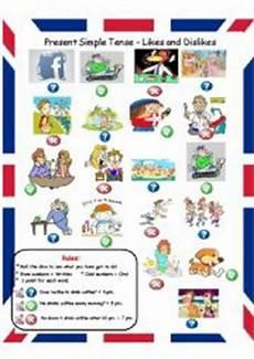 english worksheets present simple tense likes and dislikes