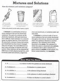 physical science worksheets for 2nd grade 13009 mixtures and solutions worksheet plus other science topics and worksheets with images