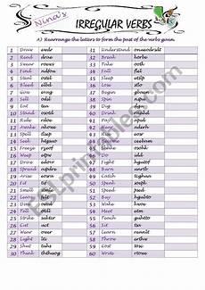 spelling irregular verbs worksheets 22601 irregular verbs spelling 1 esl worksheet by nina21