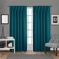 Teal Drapes Curtains by Sateen Pinch Pleat Teal Woven Blackout Window Curtain
