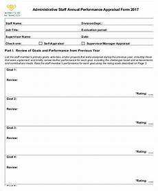 annual performance appraisal form sle free 6 annual performance appraisal form in sle exle format
