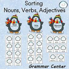 time worksheets 3023 sorting nouns verbs and adjectives penguin themed grammar center nouns verbs nouns
