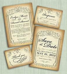 printable vintage style wedding invitation suite diy 4 pieces 35 00 via etsy wedding