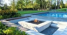 Senkgarten Sitzplatz Feuerstelle Gestalten Modern Pool