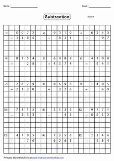 subtraction worksheets with grid lines 10162 grid subtraction worksheets