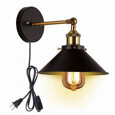 metal wall sconce with 5 9ft plug in button cord lighting