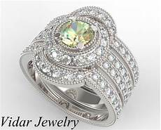 filigree yellow diamond trio wedding ring unique