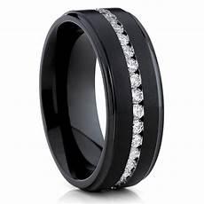 black wedding band titanium wedding ring cz men s