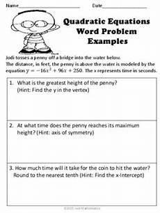quadratic word problem worksheets 11121 quadratic equations word problems by math club tpt