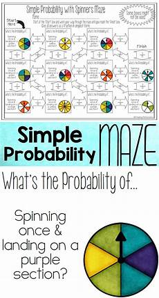 probability worksheets easy 5756 theoretical probability of simple events maze with spinners 7th grade math probability