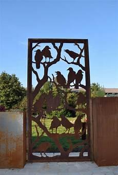 Garten Paravent Metall - edelrost sichtschutz mit u profil befestigt metall
