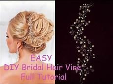 diy bridal crystals pearls tiara hair vine headband