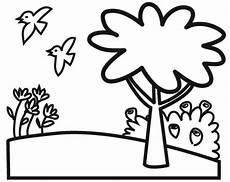 kostenlose malvorlage natur baum auf einer blumenwiese