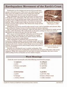 earthquakes movement of the earth s crust 6th 8th grade worksheet lesson planet