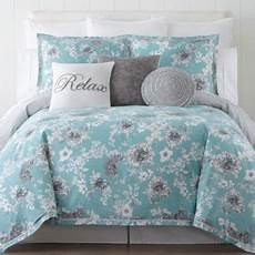 jcpenney home pencil floral 4 pc comforter color aqua jcpenney