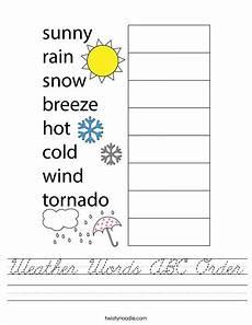 weather words abc order worksheet cursive twisty noodle