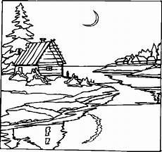 Malvorlagen Landschaften Gratis Tari Haeuschen In Mondnacht Ausmalbild Malvorlage Landschaften