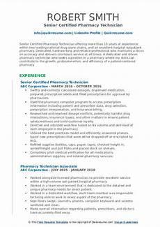 pharmacy technician resume sles qwikresume