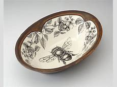 Large Serving Dish: Honey Bee with Apple Blossom by Laura