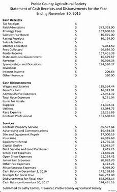 statement of cash receipts and disbursements for the year