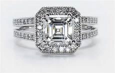asscher diamond setting types for wedding rings