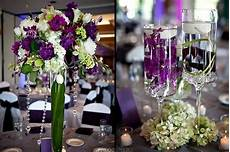purple green centerpieces for wedding reception