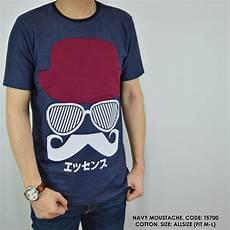 jual beli baju kaos motif kumis navy cowok pria baru kaos baju t shirt pria murah