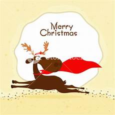 greeting card design with cute running reindeer for merry christmas celebration royalty free