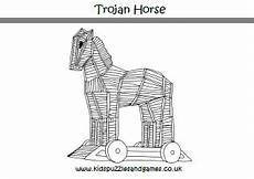 trojan colouring page puzzles and