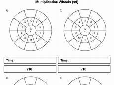 7 8 9 and 12 multiplication wheels worksheets for timed