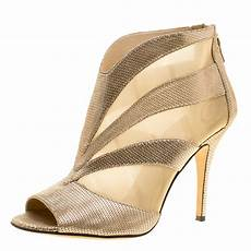 buy fendi metallic gold suede and mesh peep toe ankle