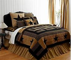 delaware star 7pc king quilt set black tan plaid