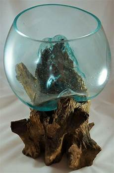 glas auf wurzelholz unikat skulptur vase schale glas auf teak holz