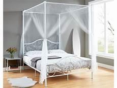 letto baldacchino bianco letto con baldacchino leyna 140x190 cm metallo bianco