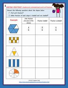 fraction worksheets shaded unshaded 4095 writing fractions shaded and unshaded parts and unit fractions tpt